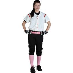 Rawlings Women's Mock Button WI21 Softball Jersey, White wit
