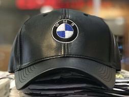 BMW Mpower Pu Leather baseball Cap Hat black Adjustable size