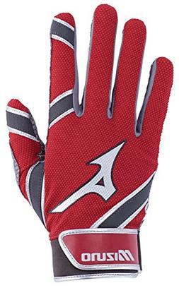 Mizuno MVP Youth Kid's Baseball Batting Gloves, X-Small, Red