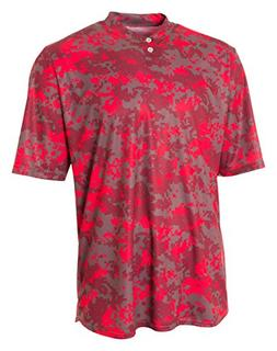 A4 N3263 Adult Camo Two-Button Henley - Scarlet Red, Large
