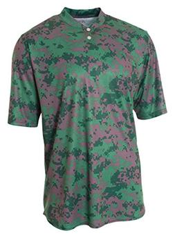 A4 N3263 Adult Camo Two-Button Henley - Forest, Large
