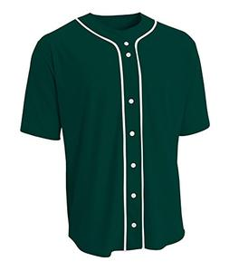 A4 N4184 Adult Short Sleeve Full Button Baseball Top - Fores