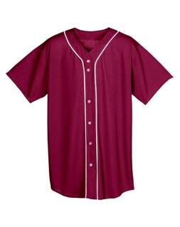 A4 N4184 Adult Short Sleeve Full Button Baseball Top - Cardi