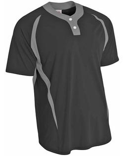 A4 N4229 Adult Two-Button Color Block Baseball Henley - Blac