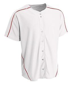 A4 NB4214 Youth Warp Knit Baseball Jersey - White/Scarlet Re