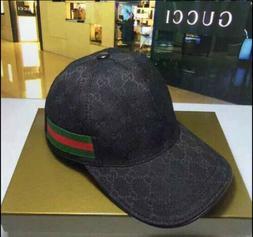 NEW GUCCI HAT Black,MEN'S/WOMEN,CANVAS BASEBALL CAP,ADJUSTAB