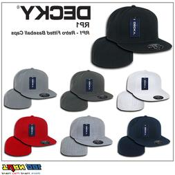 New Retro Fitted Flat Bill Baseball Hat Cap Decky Blank ALL