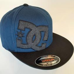 New DC Shoes Skate Flexfit Hat size Medium/Small Blue Black