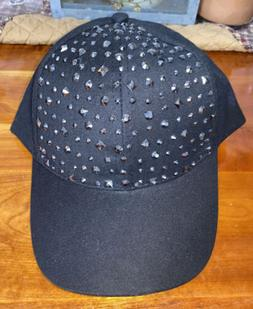 NEW Women's Black Embellished Baseball Hat Cap by Just Be