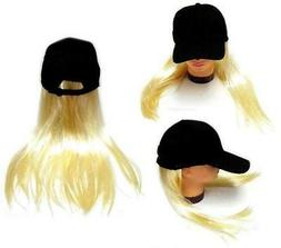 NOVELTY BASEBALL HAT WITH LONG BLONDE HAIR costume dressup b