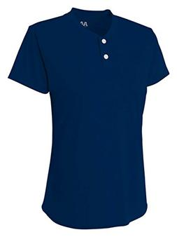 A4 NW3143 Ladies Two-Button Henley - Navy, Extra Large