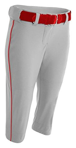 A4 NW6188 Adult Softball Pant with Cording - Grey & Scarlet