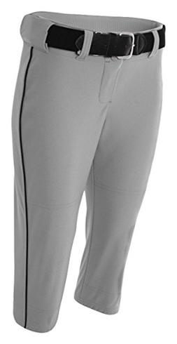 A4 NW6188 Adult Softball Pant with Cording - Grey & Black, M