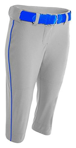 A4 NW6188 Adult Softball Pant with Cording - Grey & Royal, L