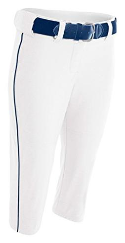 A4 NW6188 Adult Softball Pant with Cording - White & Navy, M