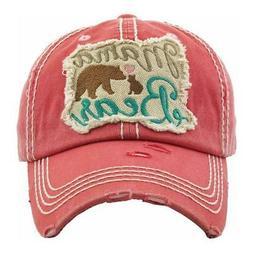 nwt mama bear embroidered distressed baseball cap