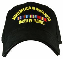 Operation Iraqi Freedom with ribbon baseball cap. Black