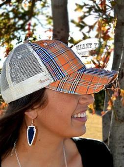 Western Trucker Baseball Cap Hat w/ Turquoise Blue Plaid -