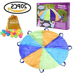 FUN LITTLE TOYS 10 Foot Parachute for Kids with 8 Sturdy Han