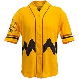 Peanuts - Mens Charlie Brown Baseball Jersey - Small Yellow