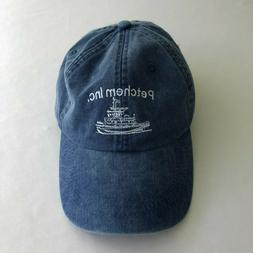 Adams Baseball Hat Cap Blue Denim Twill Tug Boats Ships Mari