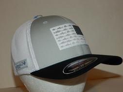 Columbia PFG Fish Hat / Cap Grey / Black Flag S/M Flexfit CU