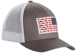 Columbia PFG Mesh Baseball Hat Cap Titanium Fish Flag Flexfi