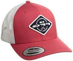 Columbia PFG Mesh Snap Back Ball Cap, Sunset Red/Diamond Pat