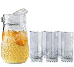 Set Of 7 Pitcher and Glasses Set, 1-64 Ounce Glass Pitcher a