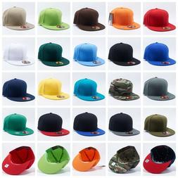 Plain Fitted Flat Bill Cap Visor Baseball Basic New Blank So