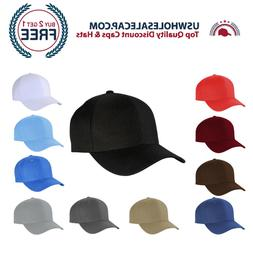 Top Level Plain Polyester Fitted Size Baseball Cap Hat 10 si
