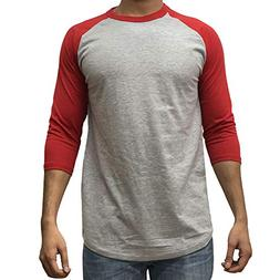 KANGORA Men's Plain Raglan Baseball Tee T-Shirt Unisex 3/4