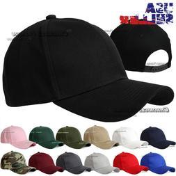 Baseball Cap Plain Snapback Curved Visor Hat Solid Blank Pla