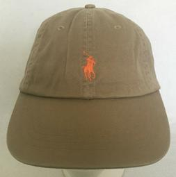 Polo Ralph Lauren Hat Baseball Cap~Khaki~Fabric Strap~Orange