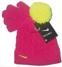 Nike Pom Pom Knit Ski beanie Cap Hat With Gloves set  4 / 6