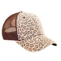 Low Profile Canvas Leopard Print Mesh Trucker Cap