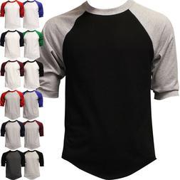 Mens Raglan 3/4 Baseball T Shirt 3/4 Sleeve TwoTone Tee Jers
