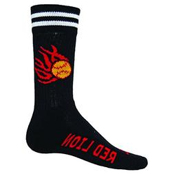 Red Lion Black Burn Crew Softball Socks