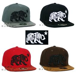 California Republic Hat BEAR CALIFORNIA Snapback Suede Flat