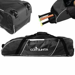 Athletico Rolling Baseball Bag - Wheeled Baseball Bat Bag fo