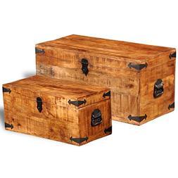 SKB Family Rough Mango Wood Storage Chest Set of 2 Goalie La