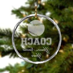 Round Crystal Christmas Ornament - Baseball Coach - Personal
