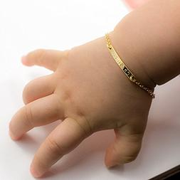 Baby Name Bar id Bracelet ❤️Best Christmas Gift 16k Gold