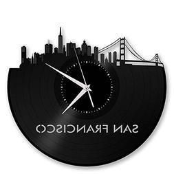 VinylShopUS San Francisco Skyline Vinyl Record Wall Clock Ci