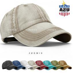 Seamed Washed Cotton Vintage Baseball Ball Cap Hat Dad Adjus