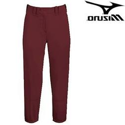 Mizuno Select Belted Low Rise Fastpitch Pant - Maroon - S