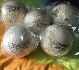 Set 5 New DIAMOND White Stitch Flyer Softballs 12 In Leather