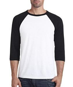 Bella 3200 Unisex 3 By 4 Sleeve Baseball Tee - White & Black