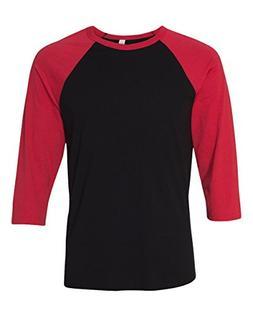 Bella 3200 Unisex 3 By 4 Sleeve Baseball Tee - Black & Red,