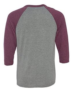 Bella 3200 Unisex 3 By 4 Sleeve Baseball Tee - Grey & Maroon